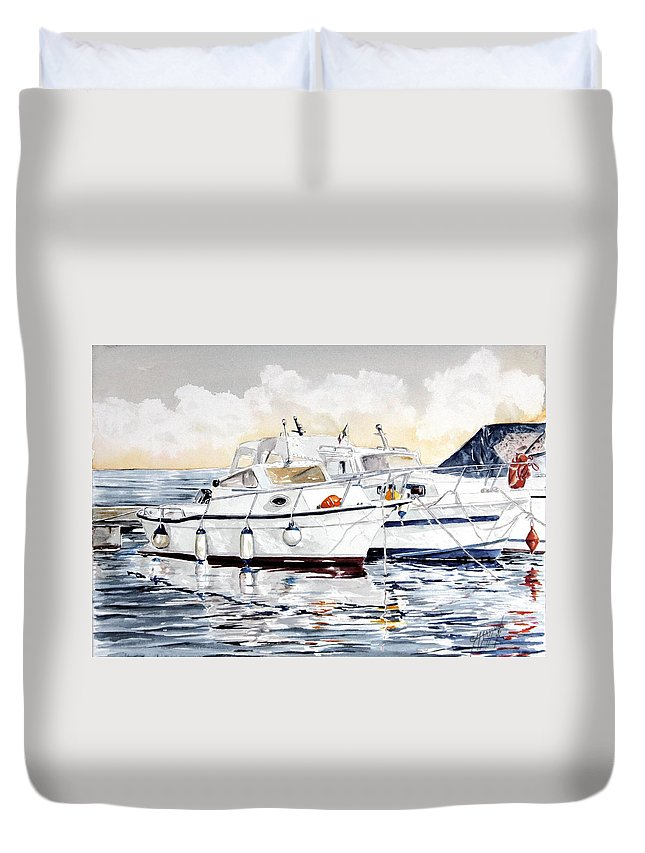 Sea Scape Duvet Cover featuring the painting Quattro Parabordi by Giovanni Marco Sassu