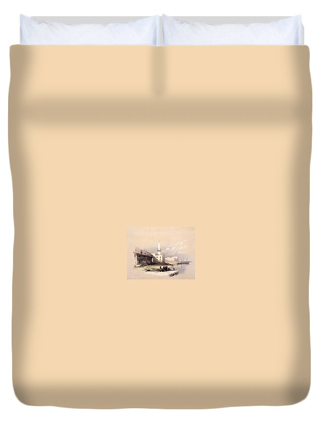 Suez Duvet Cover featuring the photograph Quay At Suez Febrary 11th 1839 by Munir Alawi