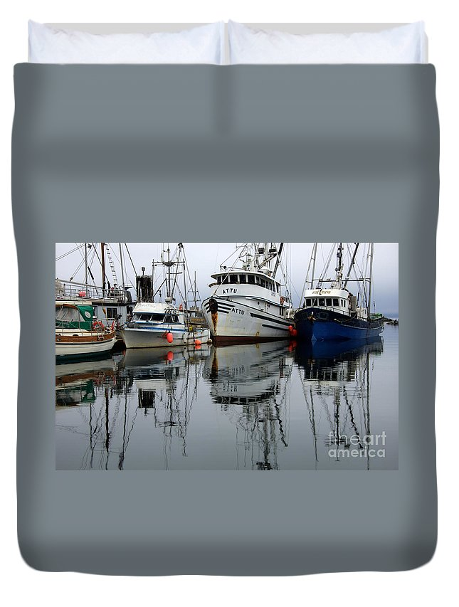 Fishing Boats Duvet Cover featuring the photograph Quiet Time by Bob Christopher