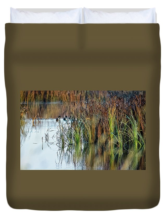 Autumn Color Duvet Cover featuring the photograph Quietly Slipping Away by Albert Seger