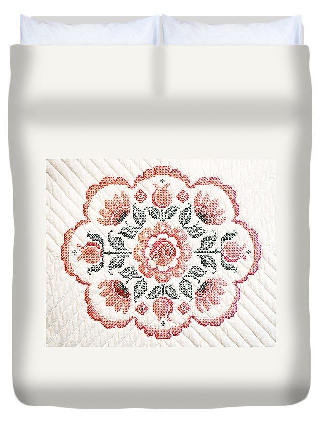 Quilt Duvet Cover featuring the photograph Quilted Centerpiece by Marilyn Hunt