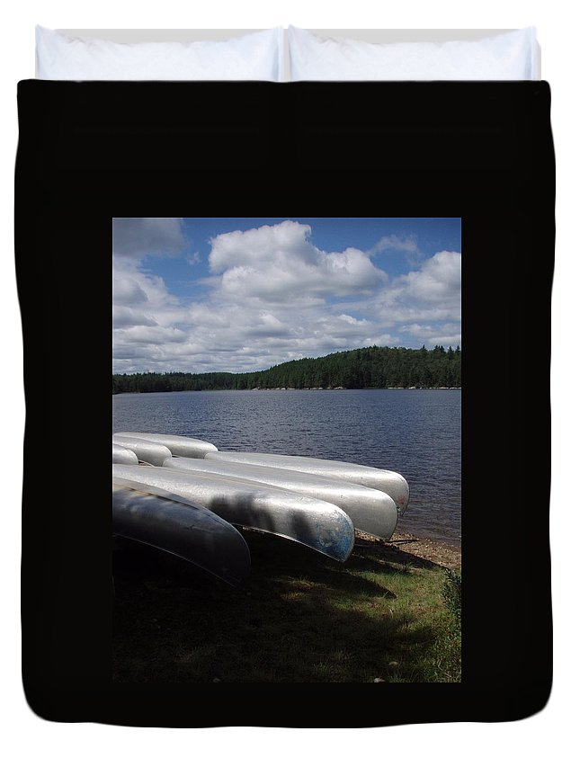 Rack Duvet Cover featuring the photograph Racks Of Canoe's On Bear Pond Lake In The Adirondacks Ny by Sven Migot
