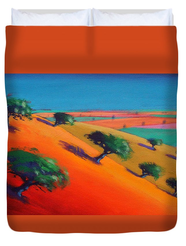Hillside; Valley; Tree: Trees; Summer; Landscape; Hill; Field; Fields; Vivid; Colourful; Colorful; Arid; Colorful Duvet Cover featuring the painting Ragged Stone Hill by Paul Powis
