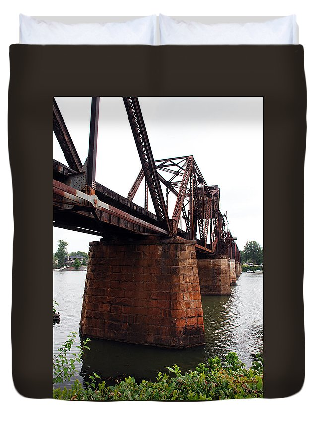 Water Duvet Cover featuring the photograph Railroad Bridge 1 by Kay Lovingood
