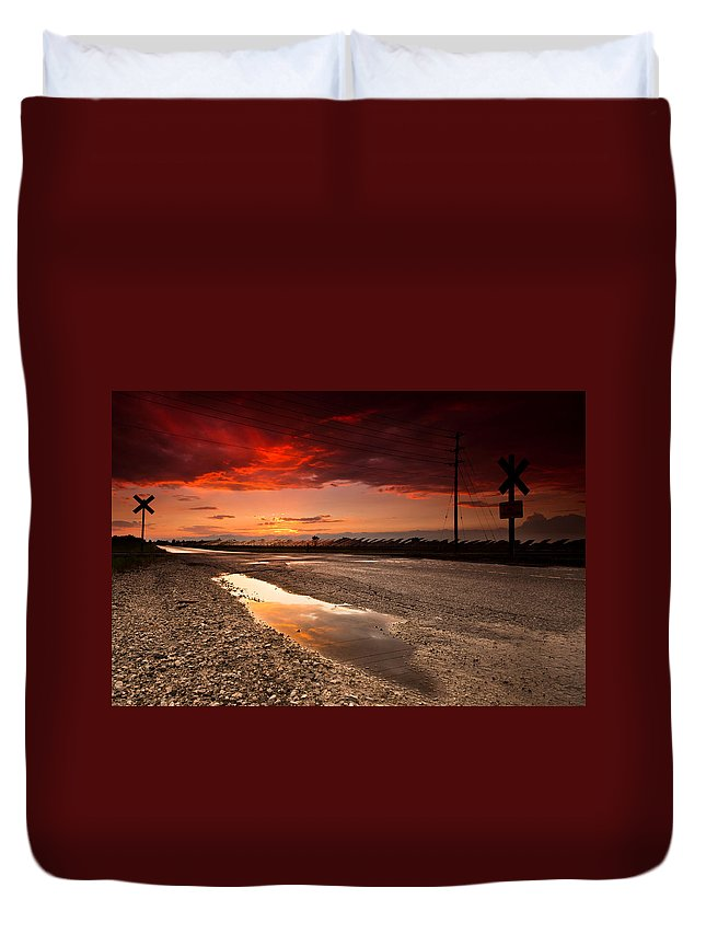 Rail Duvet Cover featuring the photograph Railroad Reflection by Cale Best
