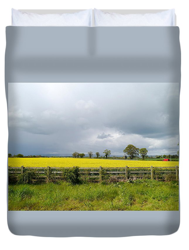 Canola Field Duvet Cover featuring the photograph Rain Clouds Over Canola Field by Christiane Schulze Art And Photography