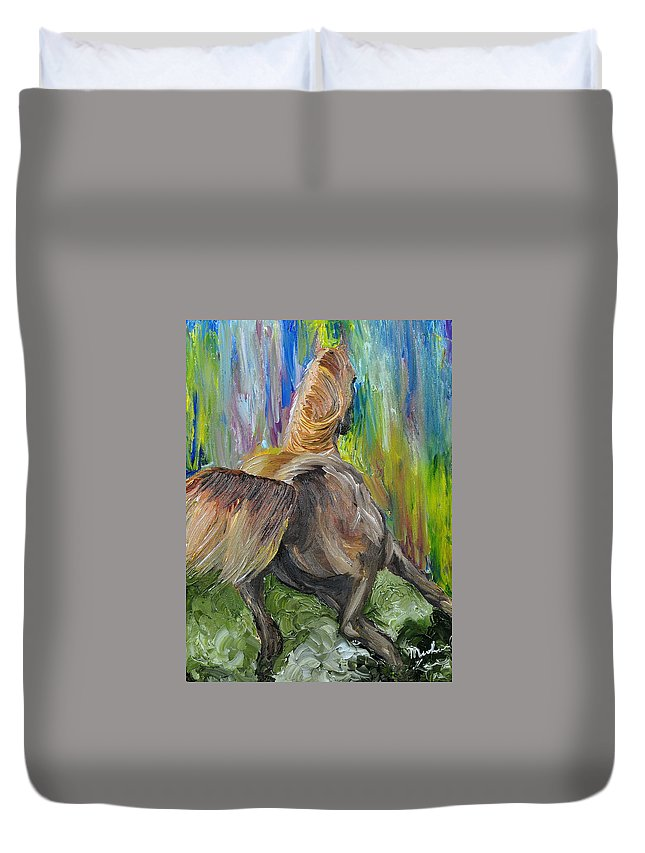 Horse Duvet Cover featuring the painting Rain Dancer by Michael Lee