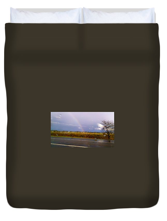 Rainbow Duvet Cover featuring the photograph Rainbow 2 by Linda Hutchins
