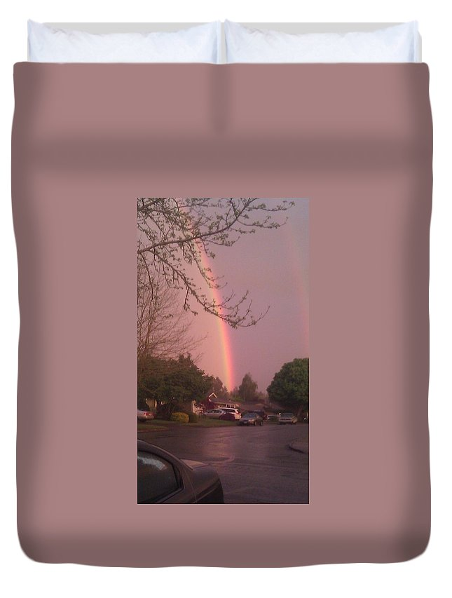 Rainbow Duvet Cover featuring the photograph Rainbow 3 by Linda Hutchins