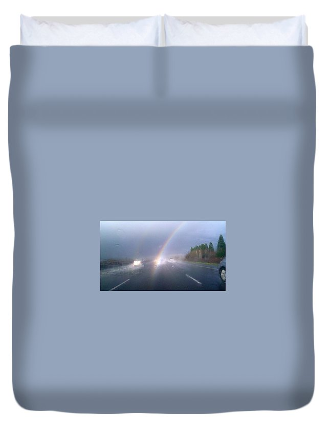 Duvet Cover featuring the photograph Rainbow 4 by Linda Hutchins