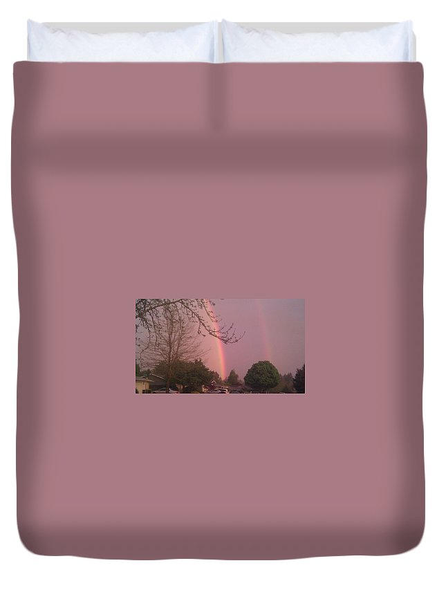 Duvet Cover featuring the photograph Rainbow 5 by Linda Hutchins