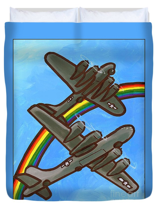 B17 Duvet Cover featuring the painting Rainbow Flight by Jim Harris