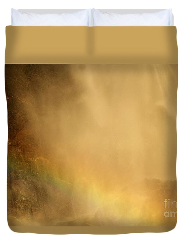 Yosemite National Park Duvet Cover featuring the photograph Rainbow In The Mist by Adam Jewell