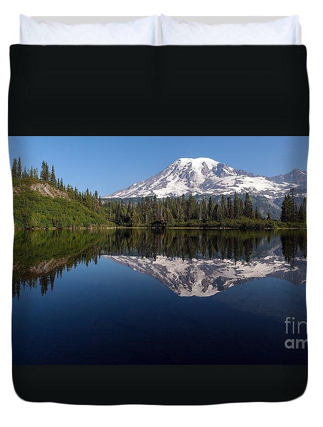 Rainier Duvet Cover featuring the photograph Rainier Clarity by Mike Reid