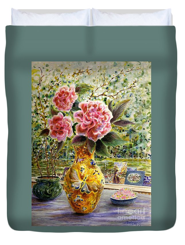 Flowers Duvet Cover featuring the painting Rainy Afternoon Joy by Dee Davis