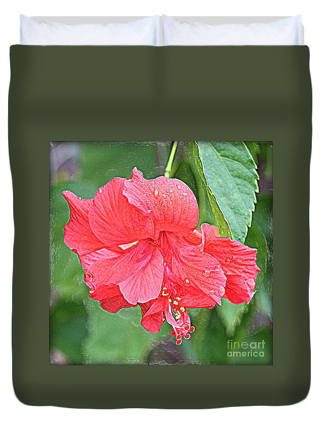 Hibiscus Duvet Cover featuring the photograph Rainy Day Hibiscus by Carol Groenen