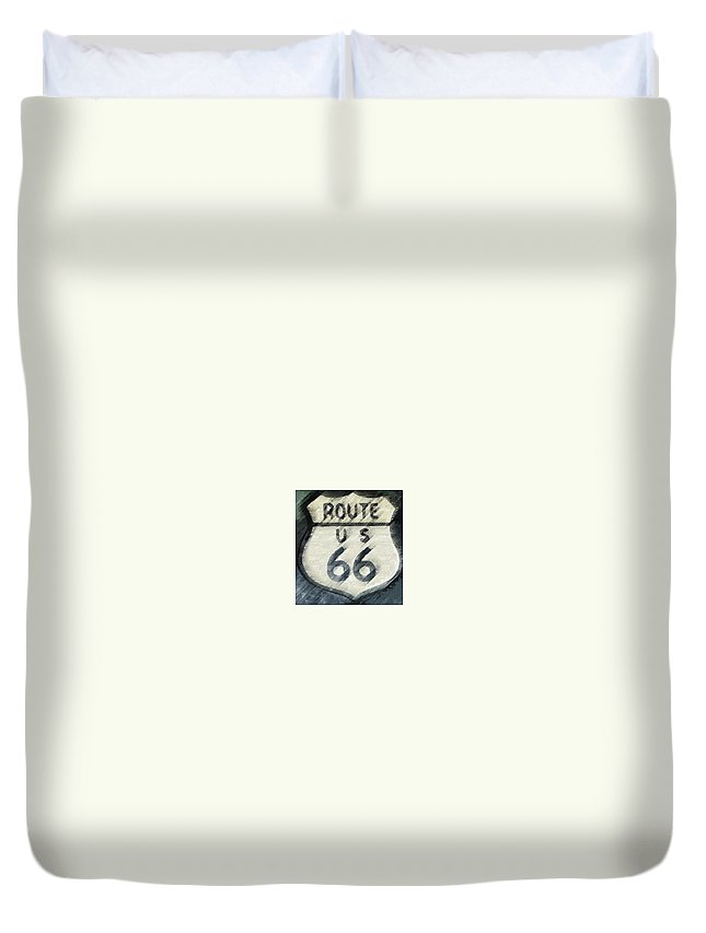 Route 66 Duvet Cover featuring the photograph Rainy Night On Route 66 by Bill Owen