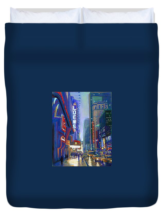 Times Square Duvet Cover featuring the painting Rainy Reflections In Times Square by Li Newton