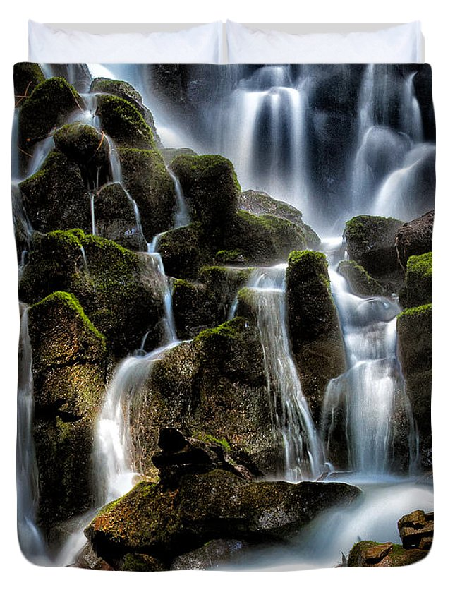 Water Fall Duvet Cover featuring the photograph Ramona Falls by Paul Bartell