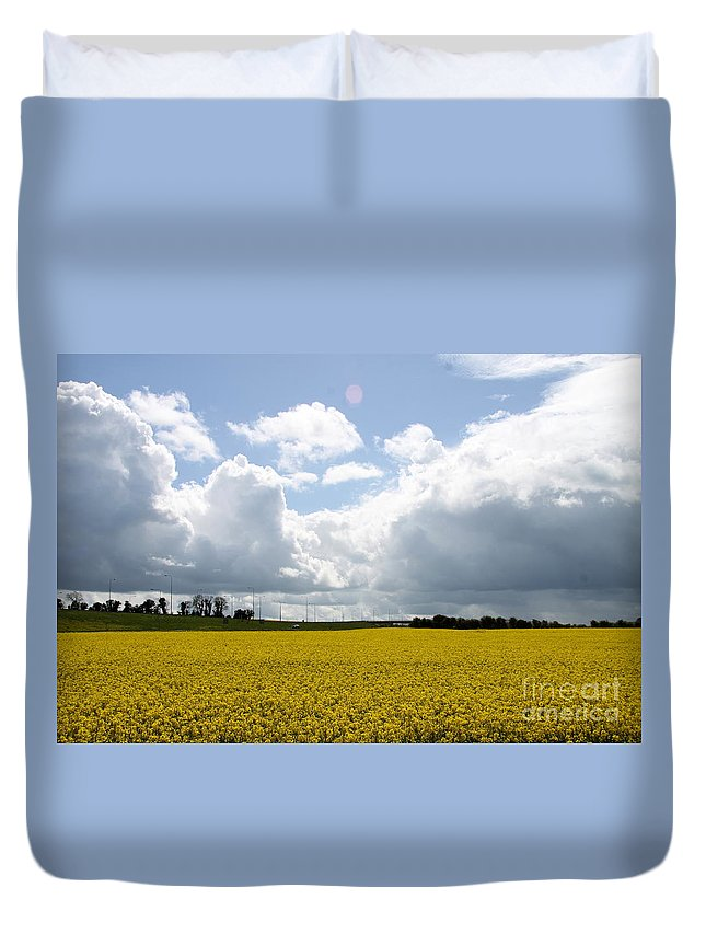 Rape Field Duvet Cover featuring the photograph Rape Field by Christiane Schulze Art And Photography