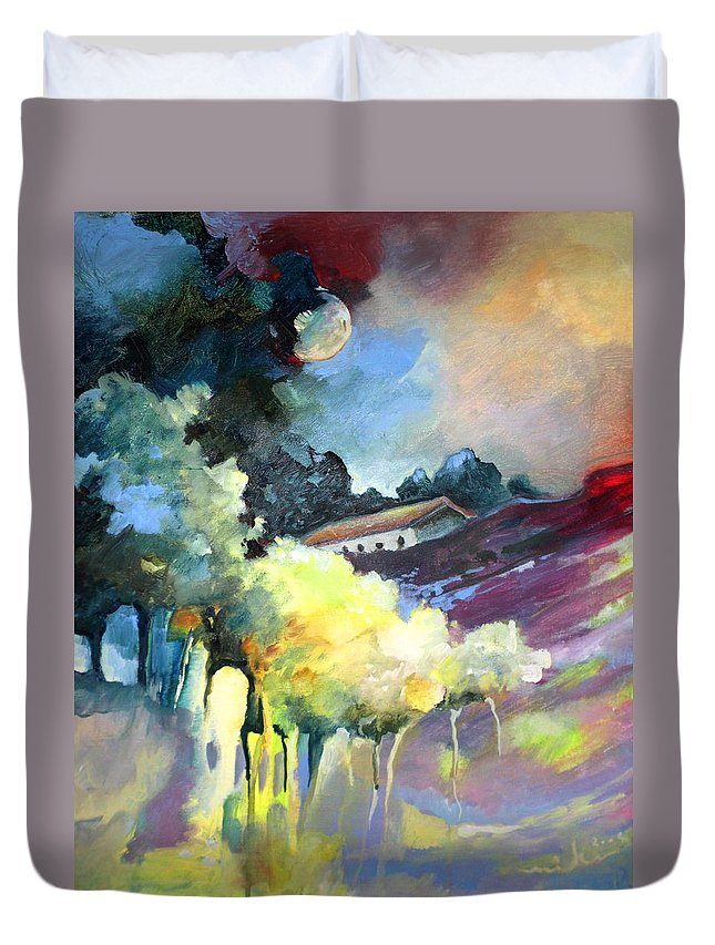 Travel Duvet Cover featuring the painting Rayo De Luna En La Dehesa by Miki De Goodaboom