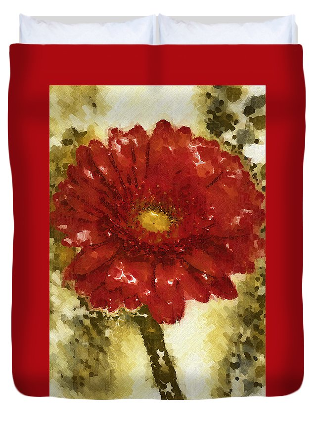 Gerbera Duvet Cover featuring the photograph Really Red Posey by Kathy Clark
