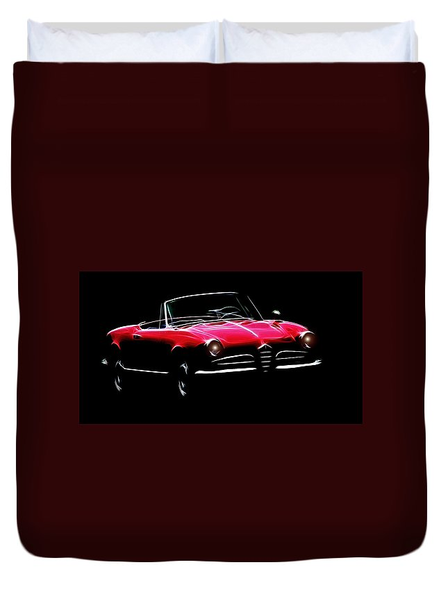 Alfa Romeo Spider Giulia 1600 Car Oldtimer Digital Painting Black White Expressionism Impressionism Motor Sport Sports Duvet Cover featuring the digital art Red Alfa Romeo 1600 Giulia Spider by Steve K