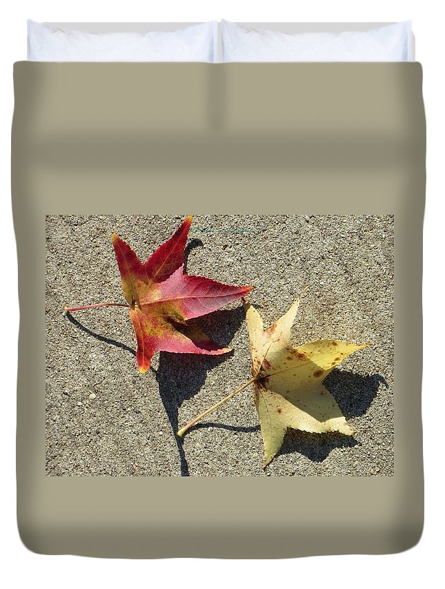 Two Makes A Company Duvet Cover featuring the photograph Red And Yellow by Sonali Gangane