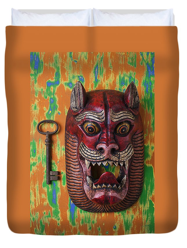 Red Duvet Cover featuring the photograph Red Cat Mask by Garry Gay
