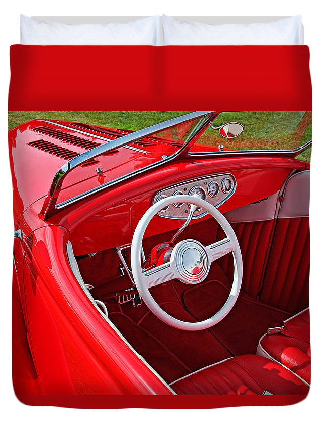 Red Classic Car Duvet Cover featuring the photograph Red Classic Car by Garry Gay