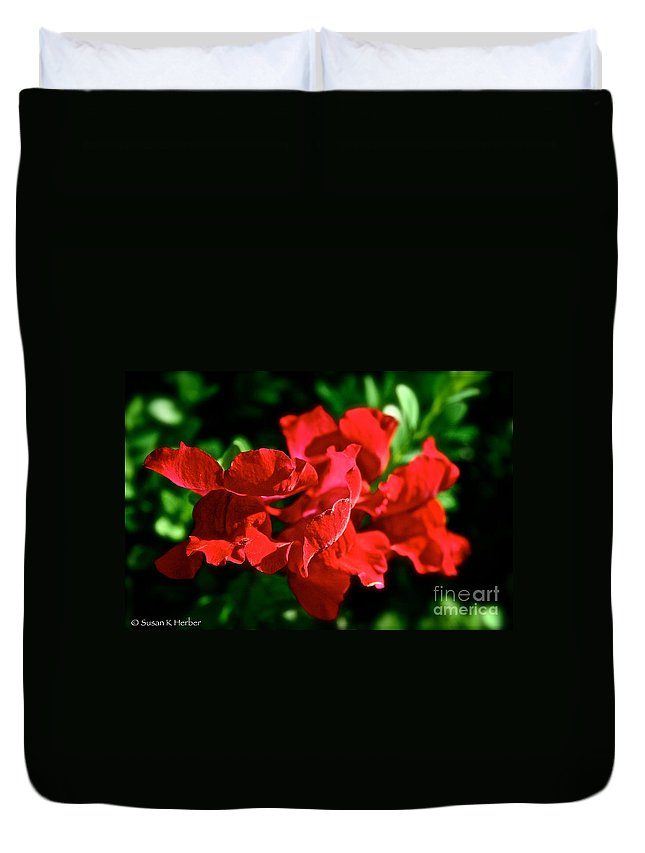 Plant Duvet Cover featuring the photograph Red Dragon by Susan Herber