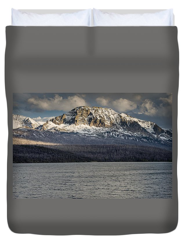 Glacier National Park Duvet Cover featuring the photograph Red Eagle Mountain Evening by Greg Nyquist
