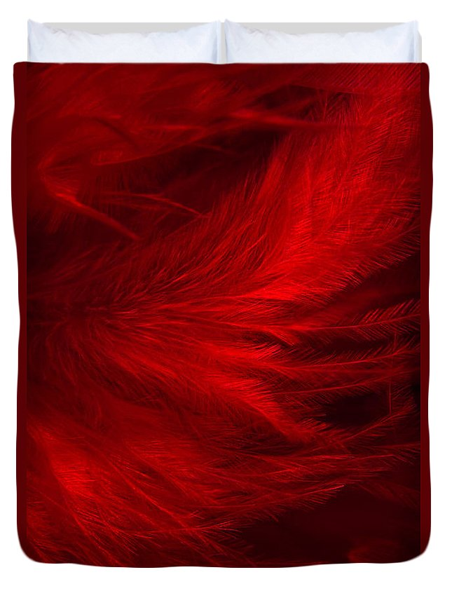 Feathers Duvet Cover featuring the photograph Red Feathers - 1 by Ann Garrett