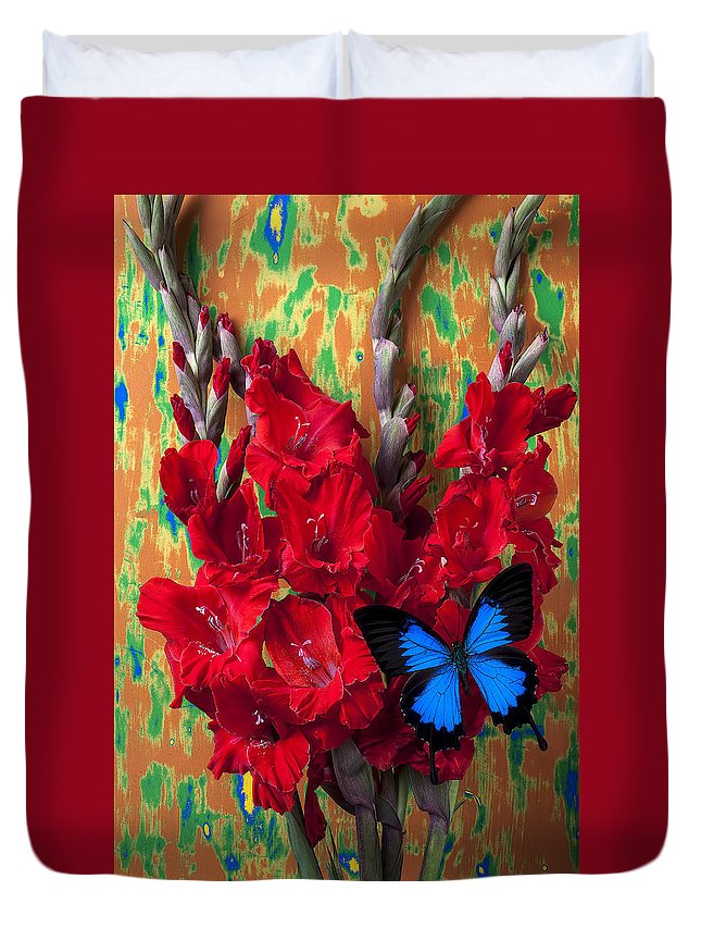Red Duvet Cover featuring the photograph Red Gladiolus And Blue Butterfly by Garry Gay