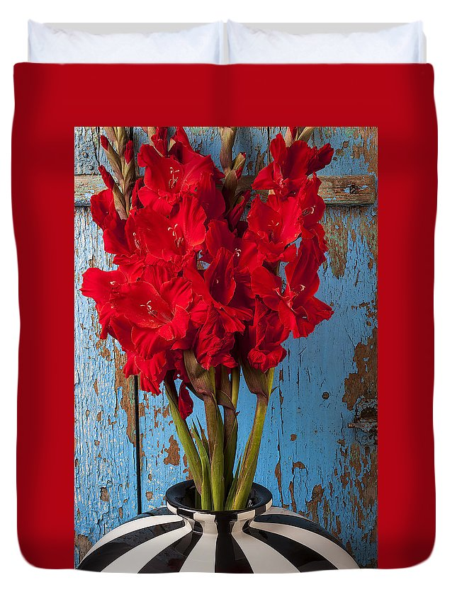Red Gladiolus Duvet Cover featuring the photograph Red Glads Against Blue Wall by Garry Gay