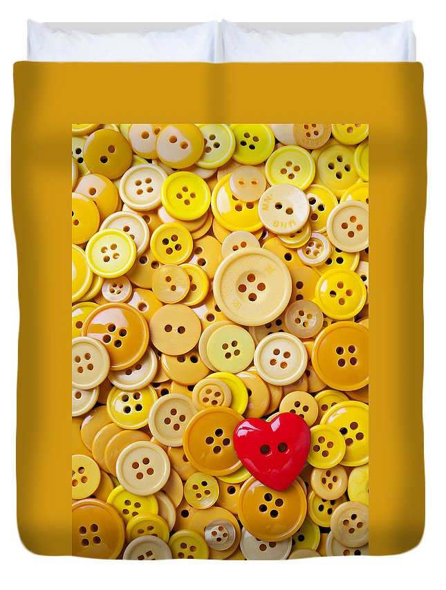 Red Heart Duvet Cover featuring the photograph Red Heart And Yellow Buttons by Garry Gay