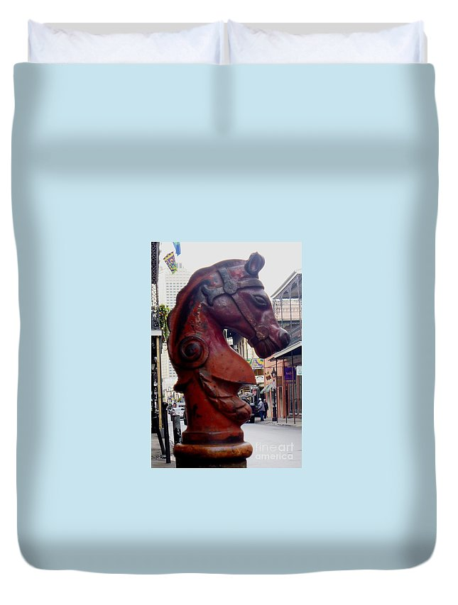 Horse Duvet Cover featuring the photograph Red Horse Head Post by Alys Caviness-Gober