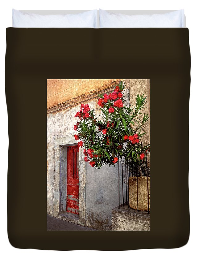Red Door Duvet Cover featuring the photograph Red In Provence by Dave Mills