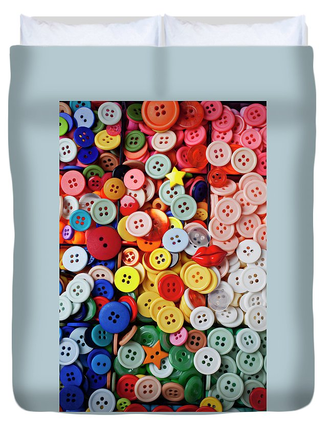 Buttons Sew Mend Affix Collect Duvet Cover featuring the photograph Red Lips Button by Garry Gay