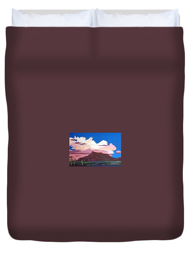 Red Mountain Duvet Cover featuring the painting Red Mountain by Don Monahan