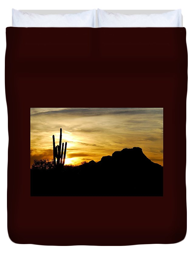 Red Mountain Duvet Cover featuring the photograph Red Mountain Sunset by Tam Ryan