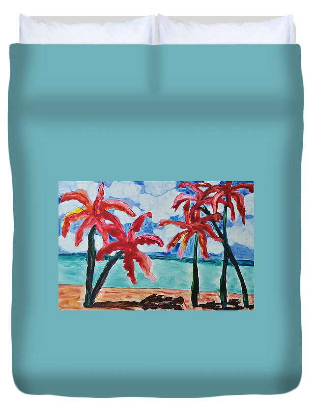 Palms Duvet Cover featuring the painting Red Palms by Mickey Krause