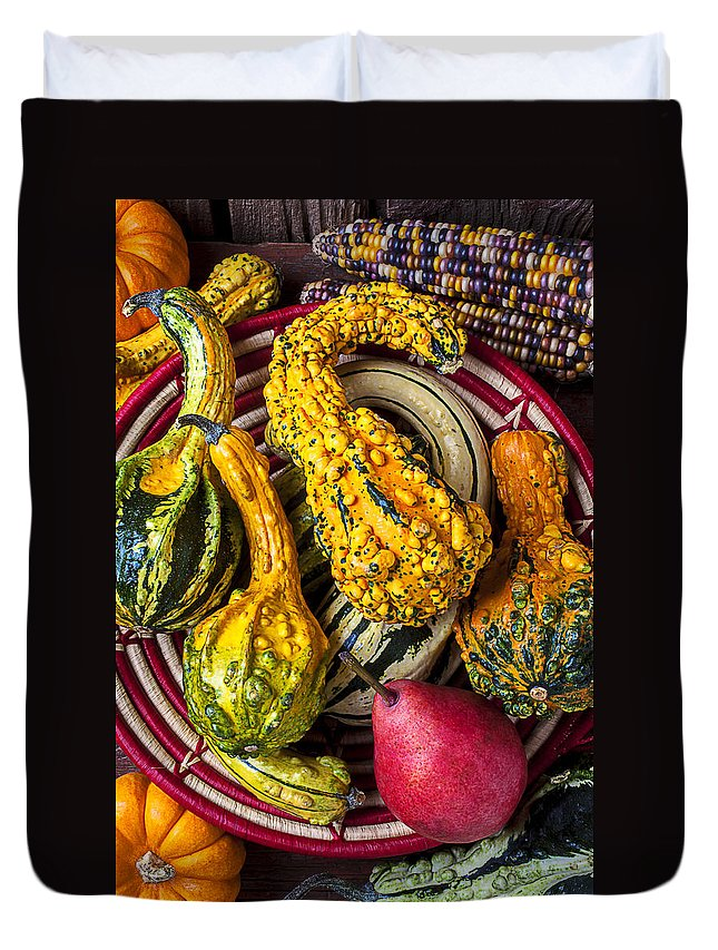 Red Pear Duvet Cover featuring the photograph Red Pear And Gourds by Garry Gay