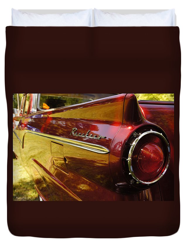 Red Duvet Cover featuring the photograph Red Ranchero And Round Taillight by Mick Anderson