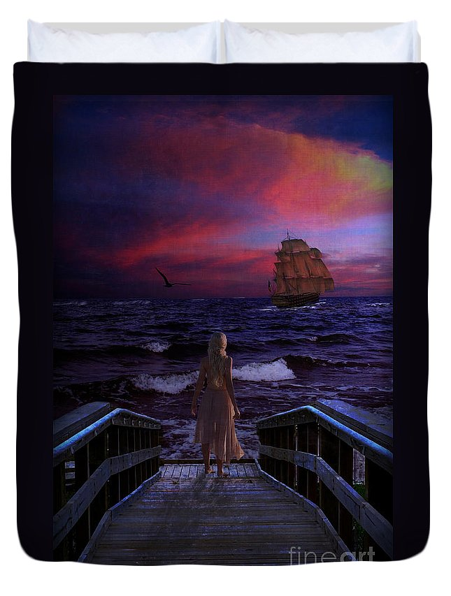 Water Duvet Cover featuring the digital art Red Sails In The Sunset by Lianne Schneider