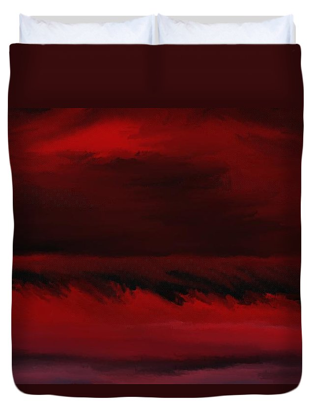 Fine Art Duvet Cover featuring the digital art Red Sea Abstract 112711 by David Lane