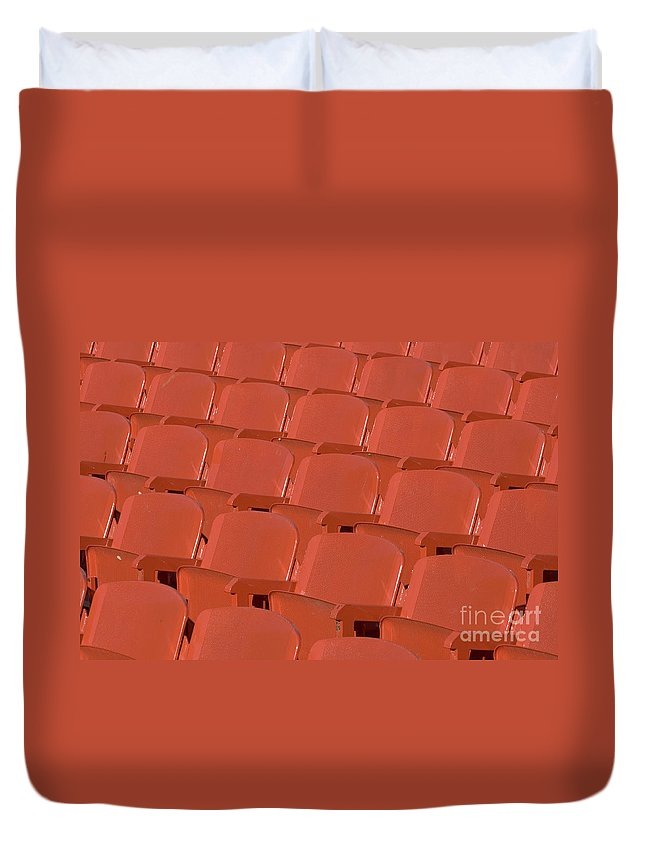 Red Duvet Cover featuring the photograph Red Seats by Alex Rowbotham