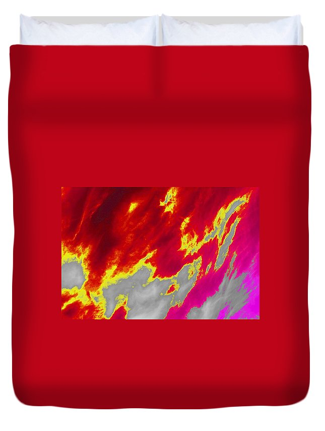 Clouds Duvet Cover featuring the photograph Red Sky by One Rude Dawg Orcutt