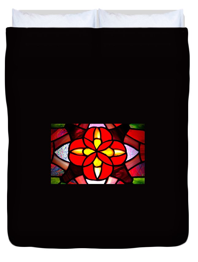 Stained Glass Window Duvet Cover featuring the photograph Red Stained Glass by LeeAnn McLaneGoetz McLaneGoetzStudioLLCcom