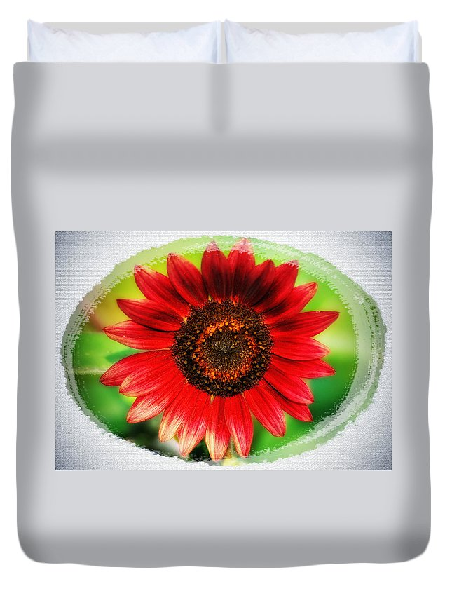 Red Duvet Cover featuring the photograph Red Sun Flower by Bill Cannon
